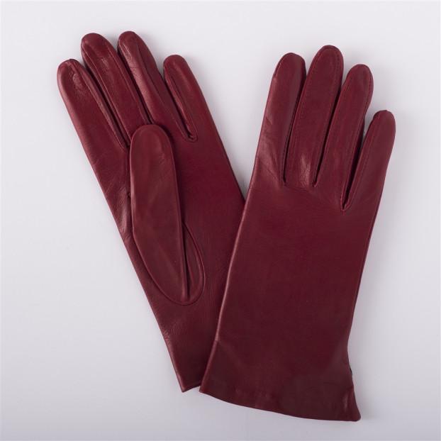 Gant Classique Cuir Agneau Doublé 100% Soie Rouge