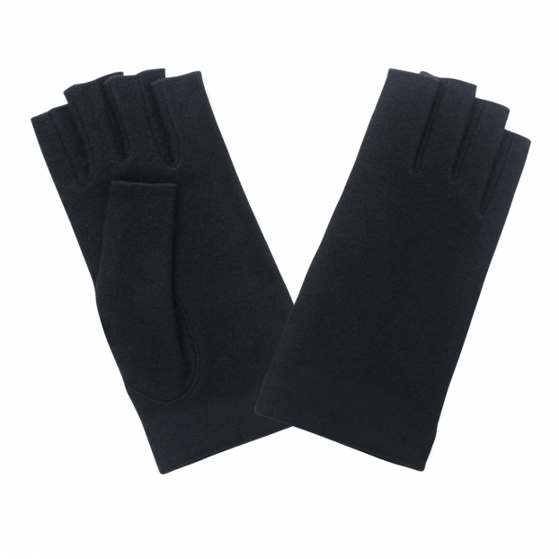 gant mitaine laine Noir