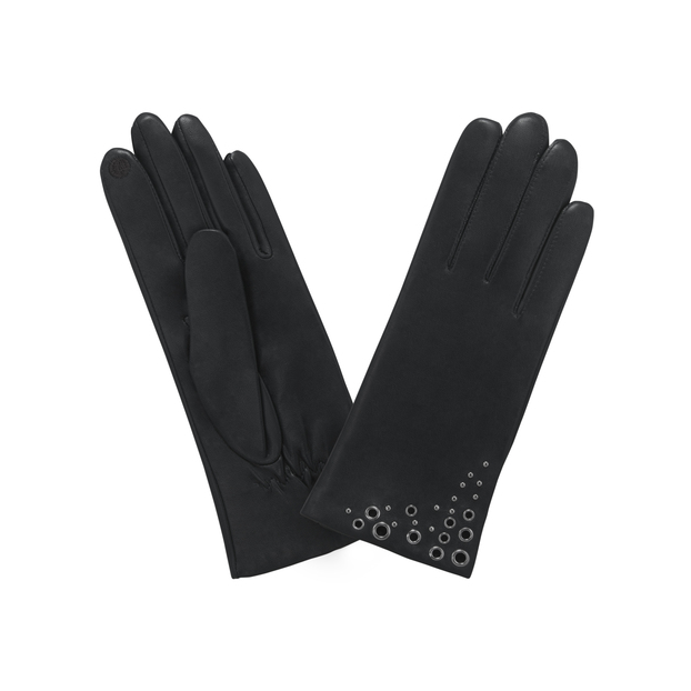 gant cuir agneau doublé soie effet oeillets en coin Noir