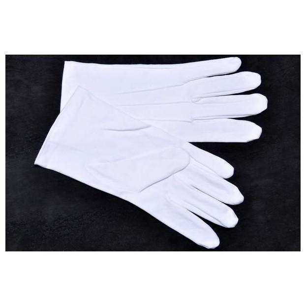 Gant Coton Blanc Avec 3 Nervures Sur Le Dessus blanc