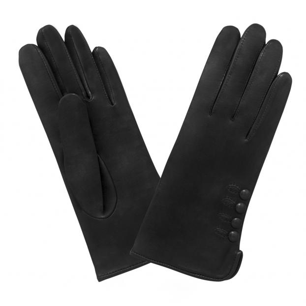 Gant Cuir Agneau Avec 4 Boutons Noir