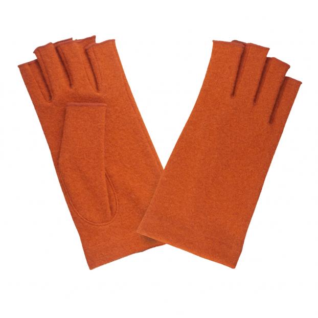 gant mitaine laine Orange