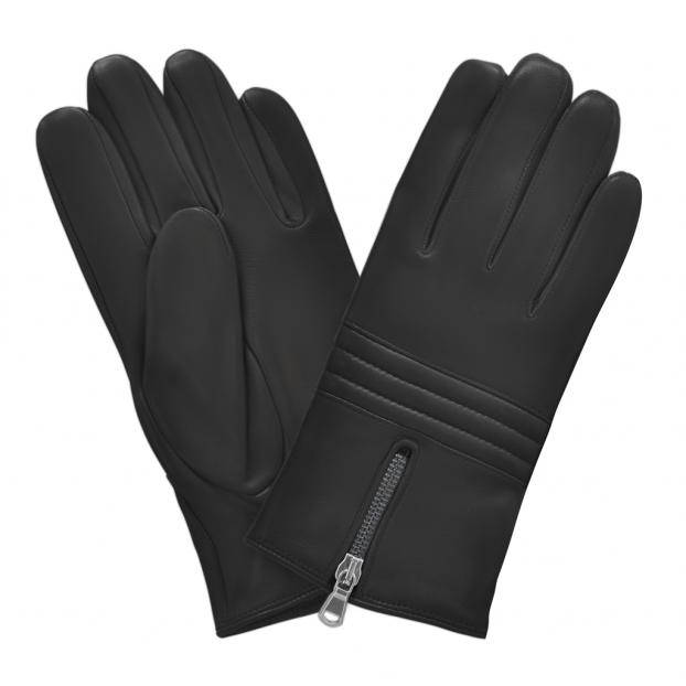 gant cuir zip au milieu - 3 bandes matelassées au milieu Noir