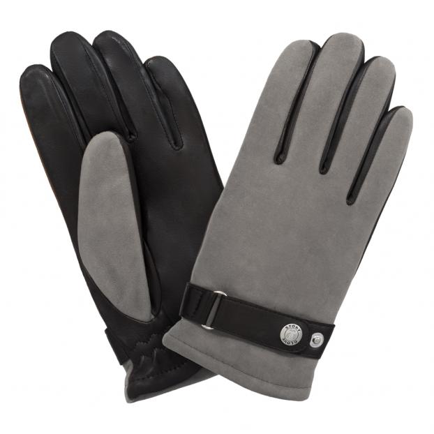 gant suede dessus - lisse dessous bracelet réglable 111 noir-gris