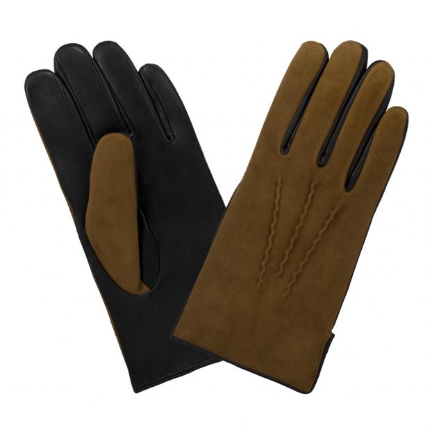 gant cuir suédé dessus , cuir lisse dessous 3 nervures 302 brun cork