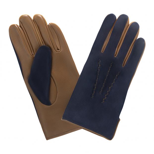 gant cuir suédé dessus , cuir lisse dessous 3 nervures Gris bleu