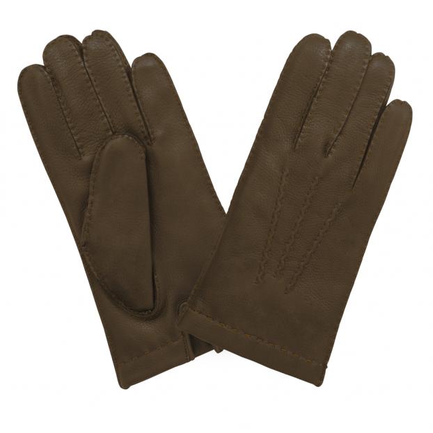 gant cuir cert doublé cachemire Cork