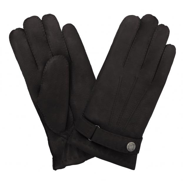 gant cuir cerf - 3 baguettes dessus -patte de serrage doublé cachemire Brun