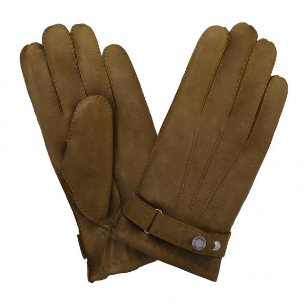 gant cuir cerf - 3 baguettes dessus -patte de serrage doublé cachemire Cork