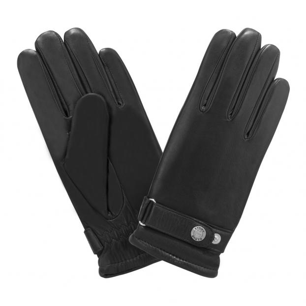 Gant Sport Agneau Bracelet Reglable Noir
